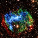 Supernova remnant W49B, seen in X-rays and visible light.